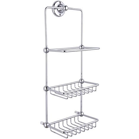 Milano Elizabeth - Traditional Wall Hung 2 Tier Bathroom Shower Tidy Caddy - Chrome