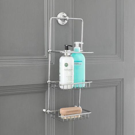 Milano Elizabeth - Traditional Wall Hung 2 Tier Bathroom Shower Tidy Caddy - Chrome