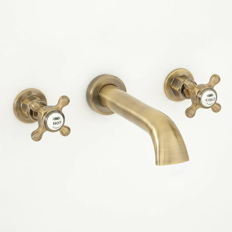 Milano Elizabeth - Traditional Wall Mounted 3 Tap-Hole Basin Mixer Tap with Crosshead Handles - Brushed Gold