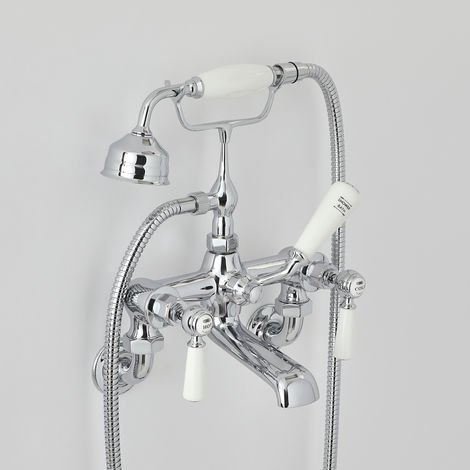 Milano Elizabeth - Traditional Wall Mounted Bath Shower Mixer Tap with Lever Handles - Chrome and White