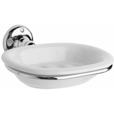 """main image of """"Milano Elizabeth - Traditional Wall Mounted Bathroom Ceramic Soap Dish and Chrome Holder"""""""