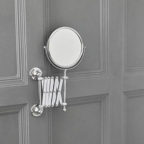 Milano Elizabeth - Traditional Wall Mounted Bathroom Double Sided Extending Tilt Swivel Round Shaving Vanity Mirror - Chrome