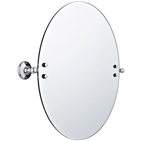 Milano Elizabeth - Traditional Wall Mounted Bathroom Round Tilt Shaving Vanity Mirror - Chrome