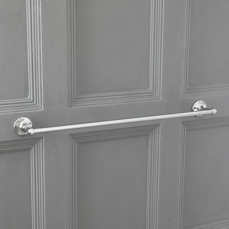 Milano Elizabeth - Traditional Wall Mounted Bathroom Single Towel Rail Holder with Chrome Finish - 660mm Length
