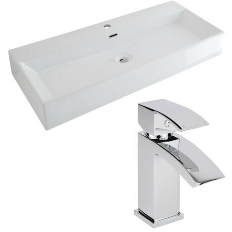 Milano Elswick - Modern White Ceramic 1000mm x 420mm Rectangular Countertop Bathroom Basin Sink and Mono Basin Mixer Tap