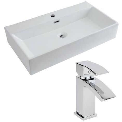 Milano Elswick - Modern White Ceramic 750mm x 420mm Rectangular Countertop Bathroom Basin Sink and Mono Basin Mixer Tap