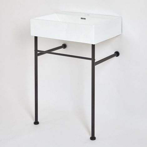 Milano Elswick - Modern White Ceramic Bathroom Basin Sink with One Tap Hole and Black Washstand - 600mm x 420mm
