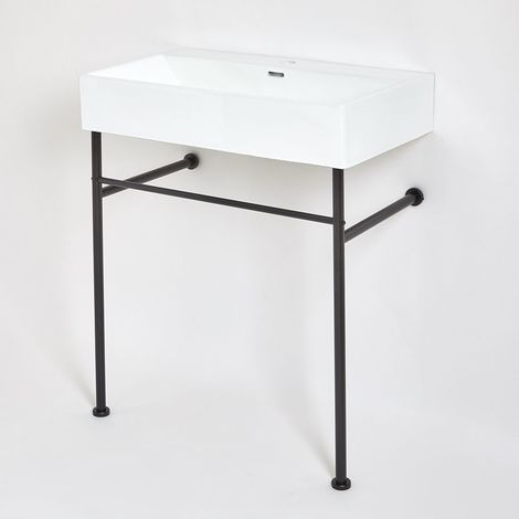 Milano Elswick - Modern White Ceramic Bathroom Basin Sink with One Tap Hole and Black Washstand - 750mm x 420mm