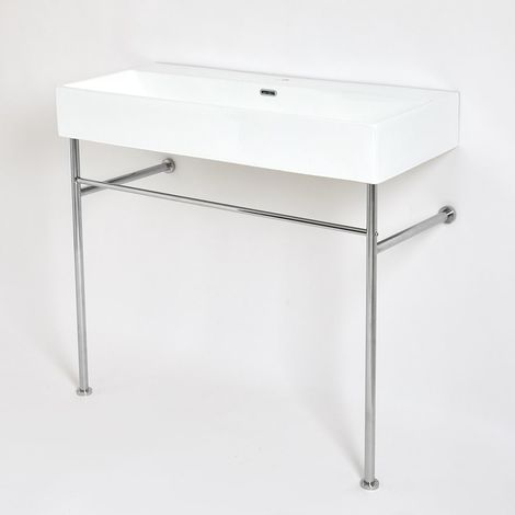 Milano Elswick - Modern White Ceramic Bathroom Basin Sink with One Tap Hole and Chrome Washstand - 1000mm x 425mm