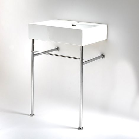 Milano Elswick - Modern White Ceramic Bathroom Basin Sink with One Tap Hole and Chrome Washstand - 600mm x 420mm