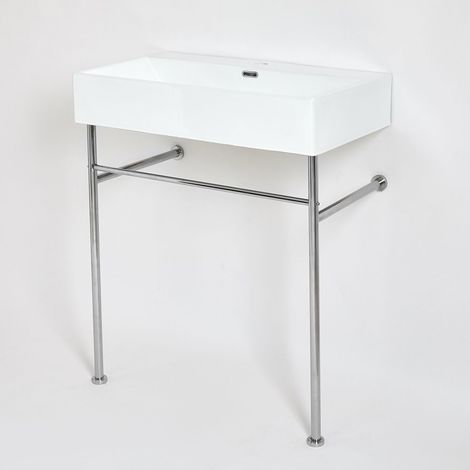 Milano Elswick - Modern White Ceramic Bathroom Basin Sink with One Tap Hole and Chrome Washstand - 750mm x 420mm