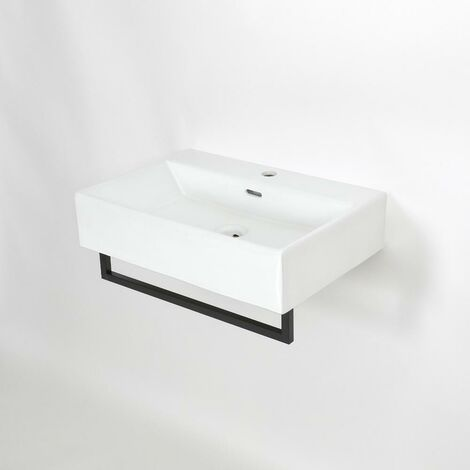 Milano Elswick - Modern White Ceramic Wall Hung Bathroom Basin Sink with One Tap Hole and Black Towel Rail - 600mm x 420mm