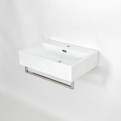 Milano Elswick - Modern White Ceramic Wall Hung Bathroom Basin Sink with One Tap Hole and Chrome Towel Rail - 600mm x 420mm