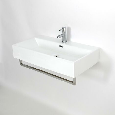 Milano Elswick - Modern White Ceramic Wall Hung Bathroom Basin Sink with One Tap Hole and Chrome Towel Rail - 750mm x 420mm