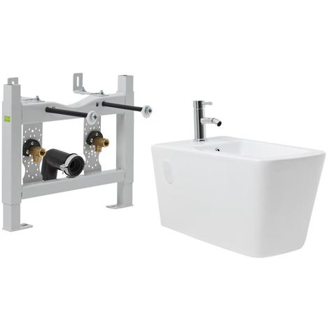 Milano Elswick - Square Wall Hung Bidet with Steel Wall Frame and Mono Mixer Tap
