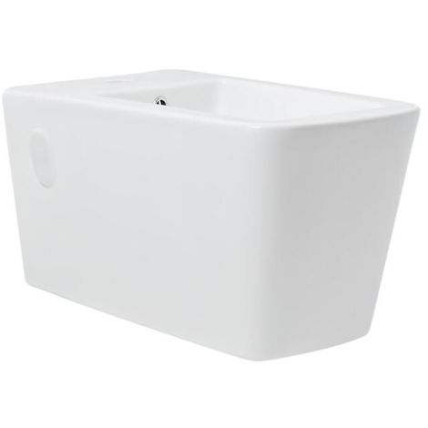 Milano Elswick - Square Wall Hung Ceramic Bidet with Overflow and Single Tap Hole