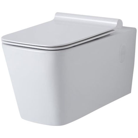 Milano Elswick - Square Wall Hung White Ceramic Toilet - One-Piece Suspended WC and Soft Close Seat