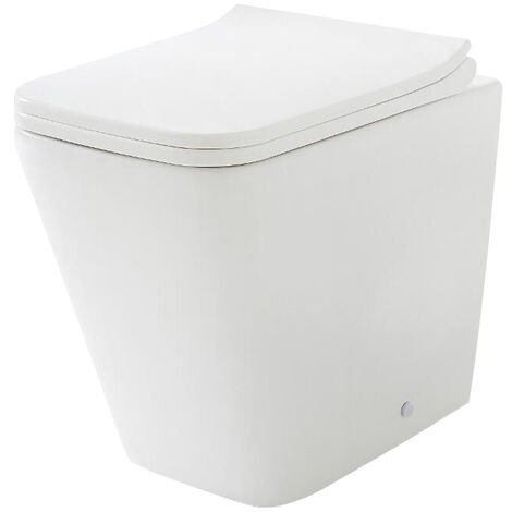 Milano Elswick - White Ceramic Modern Back to Wall Toilet Pan WC and Soft Close Seat