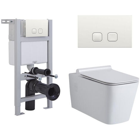 Milano Elswick - White Ceramic Modern Bathroom Wall Hung Square Toilet WC with Short Wall Frame Cistern and Flush Plate