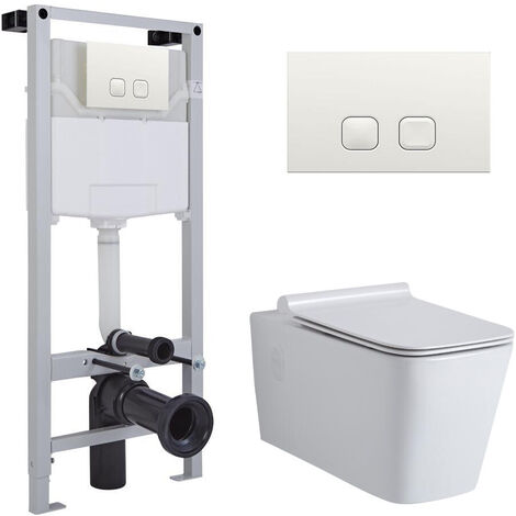 Milano Elswick - White Ceramic Modern Bathroom Wall Hung Square Toilet WC with Tall Wall Frame Cistern and Flush Plate