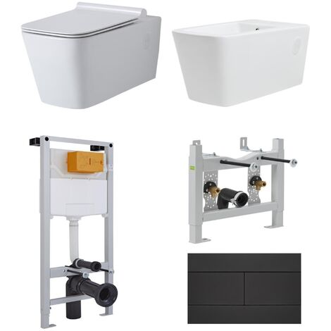 Milano Elswick - White Ceramic Modern Square Bathroom Wall Hung Toilet and Bidet with Wall Frames  Cistern and Flush Plate