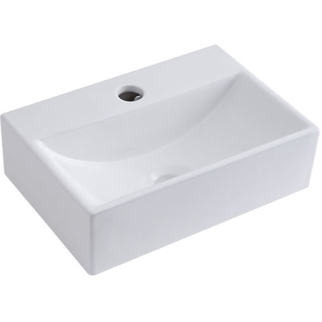 Milano Elswick - White Ceramic Wall Mounted Basin Sink - 360 x 250 mm