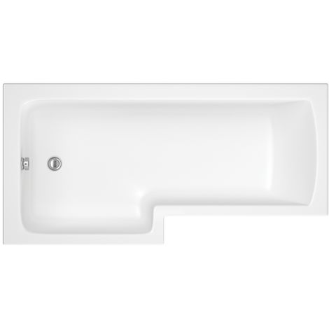 Milano Elswick - White Modern Bathroom Left Hand Square Shower Bath with Panels and Screen - 1700mm x 850mm