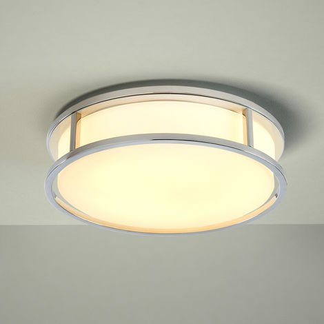 Milano Enns Ø250mm 12W LED Round Chrome Bathroom Ceiling Bulkhead Light - IP44 Waterproof - Warm White (3000K) with Frosted Opal Glass Diffuser