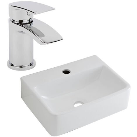 Milano Farington - Modern White Ceramic 400mm x 295mm Rectangular Countertop Wall Hung Mounted Bathroom Basin Sink and Mono Basin Mixer Tap