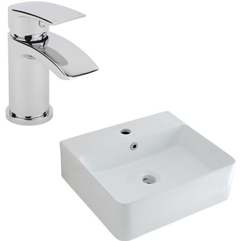 Milano Farington - Modern White Ceramic 460mm x 420mm Rectangular Countertop Bathroom Basin Sink and Mono Basin Mixer Tap