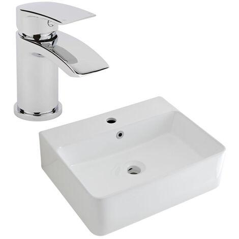 Milano Farington - Modern White Ceramic 520mm x 420mm Rectangular Countertop Wall Hung Mounted Bathroom Basin Sink and Mono Basin Mixer Tap