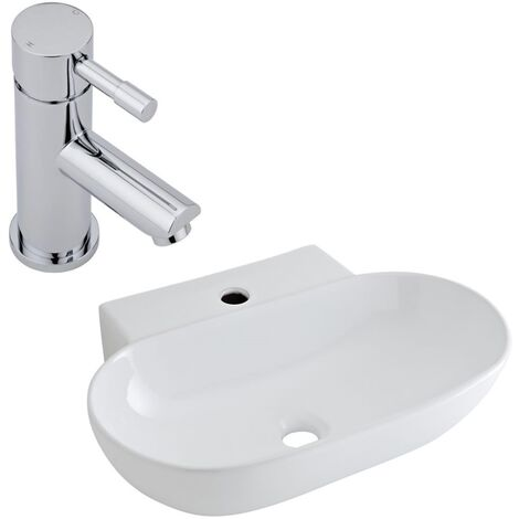 Milano Farington - Modern White Ceramic 555mm x 395mm Oval Countertop Bathroom Basin Sink and Mono Basin Mixer Tap