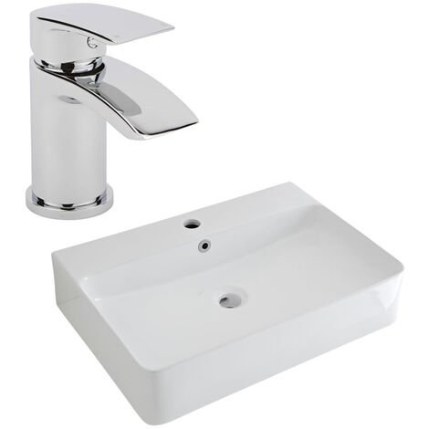 Milano Farington - Modern White Ceramic 600mm x 420mm Rectangular Countertop Bathroom Basin Sink and Mono Basin Mixer Tap