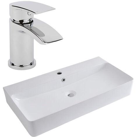 Milano Farington - Modern White Ceramic 800mm x 415mm Rectangular Countertop Wall Hung Mounted Bathroom Basin Sink and Mono Basin Mixer Tap