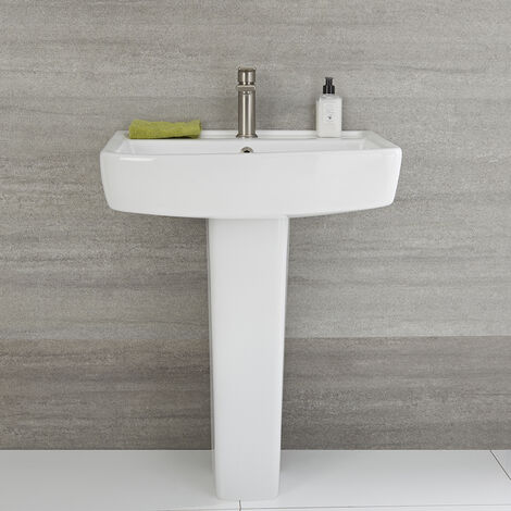 Milano Farington - Modern White Ceramic Bathroom Basin Sink with Full Pedestal and One Tap Hole - 600mm x 450mm