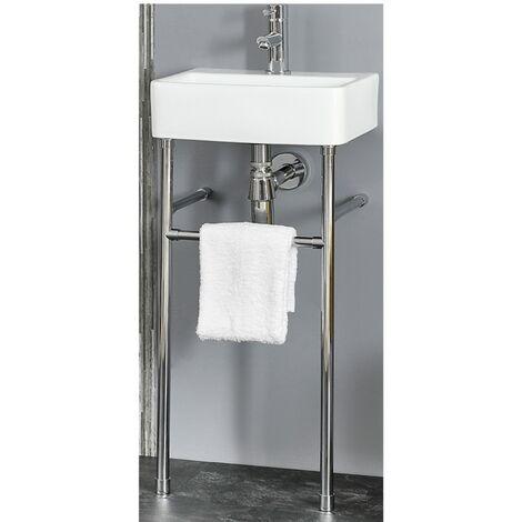 Milano Farington - Modern White Ceramic Bathroom Basin Sink with Washstand