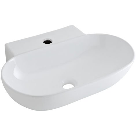 Milano Farington - Modern White Ceramic Oval Countertop or Wall Mounted Bathroom Basin Sink with 1 Tap-Hole – 555mm x 395mm