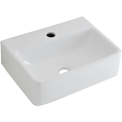 Milano Farington - Modern White Ceramic Rectangular Countertop or Wall Mounted Bathroom Basin Sink with 1 Tap-Hole – 400mm x 295mm