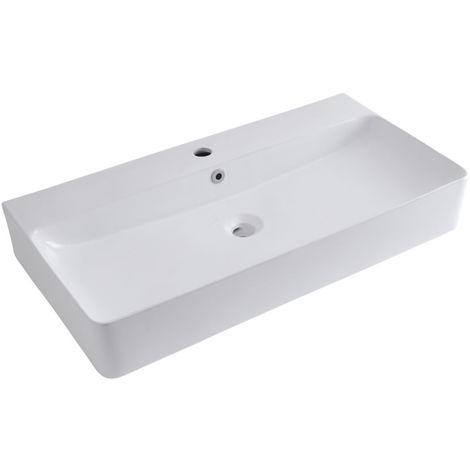 Milano Farington - Modern White Ceramic Rectangular Countertop Wall Mounted Hung Bathroom Basin Sink – 800mm x 415mm