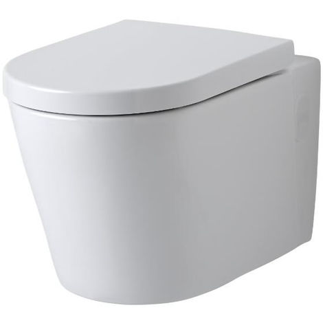 Milano Farington - Round Wall-Hung White Ceramic Rimless Toilet - One-Piece Suspended WC and Soft Close Seat