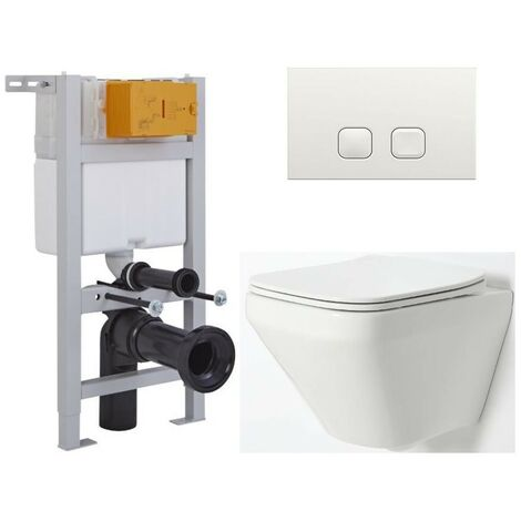Milano Farington - White Ceramic Modern Bathroom Wall Hung Rimless Toilet with Short Wall Frame  Cistern and Flush Plate