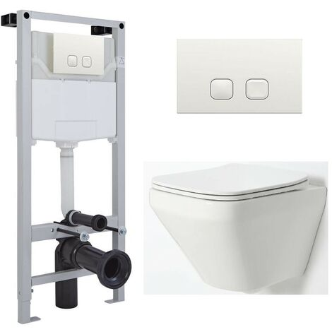 Milano Farington - White Ceramic Modern Bathroom Wall Hung Rimless Toilet with Tall Wall Frame  Cistern and Flush Plate