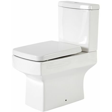 Milano Farington - White Ceramic Modern Close Coupled Bathroom Toilet Pan WC and Cistern with Soft Close Seat