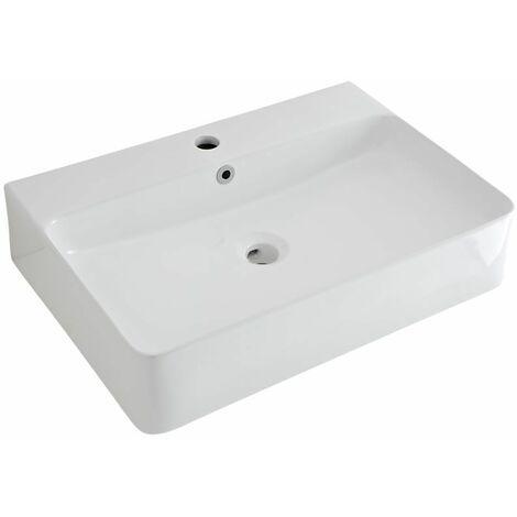 Milano Farington White Ceramic Wall Hung Counter Top Basin - 600 x 310 mm