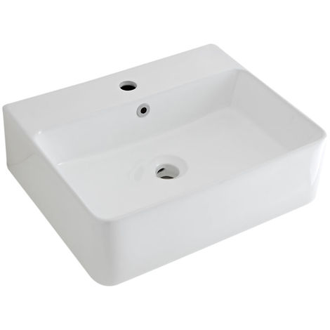 Milano Farington - White Ceramic Wall Hung Counter Top Basin Sink - 520 x 420 mm