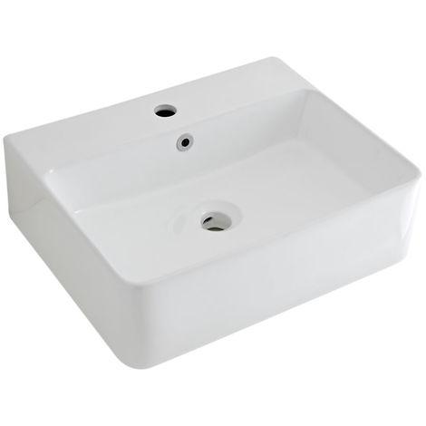 Milano Farington - White Ceramic Wall Mounted Basin Sink - 520 x 420 mm