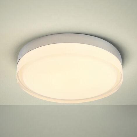 Milano Fischa - 18W LED Round Chrome IP44 Bathroom Ceiling Bulkhead Light - Warm White