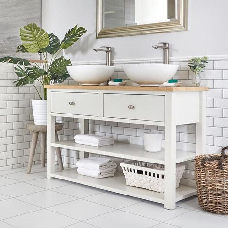 Milano Henley - Antique White and Oak 1240mm Traditional Bathroom Cloakroom Vanity Unit with Two Round Countertop Basins