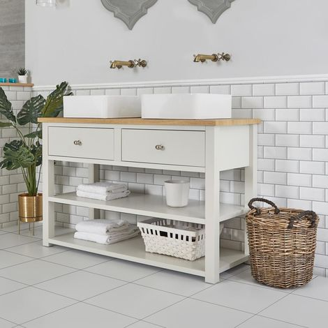 Milano Henley - Antique White and Oak 1240mm Traditional Bathroom Cloakroom Vanity Unit with Two Square Countertop Basins