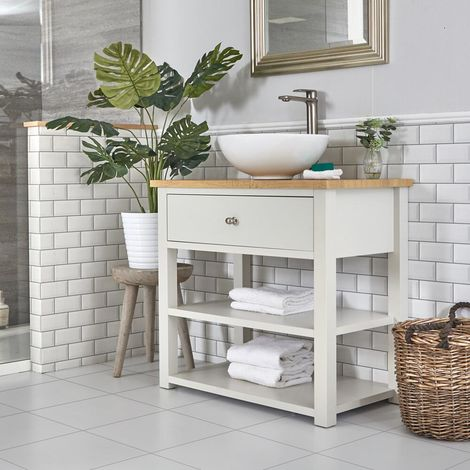 Milano Henley - Antique White and Oak 840mm Traditional Bathroom Cloakroom Vanity Unit with Round Countertop Basin